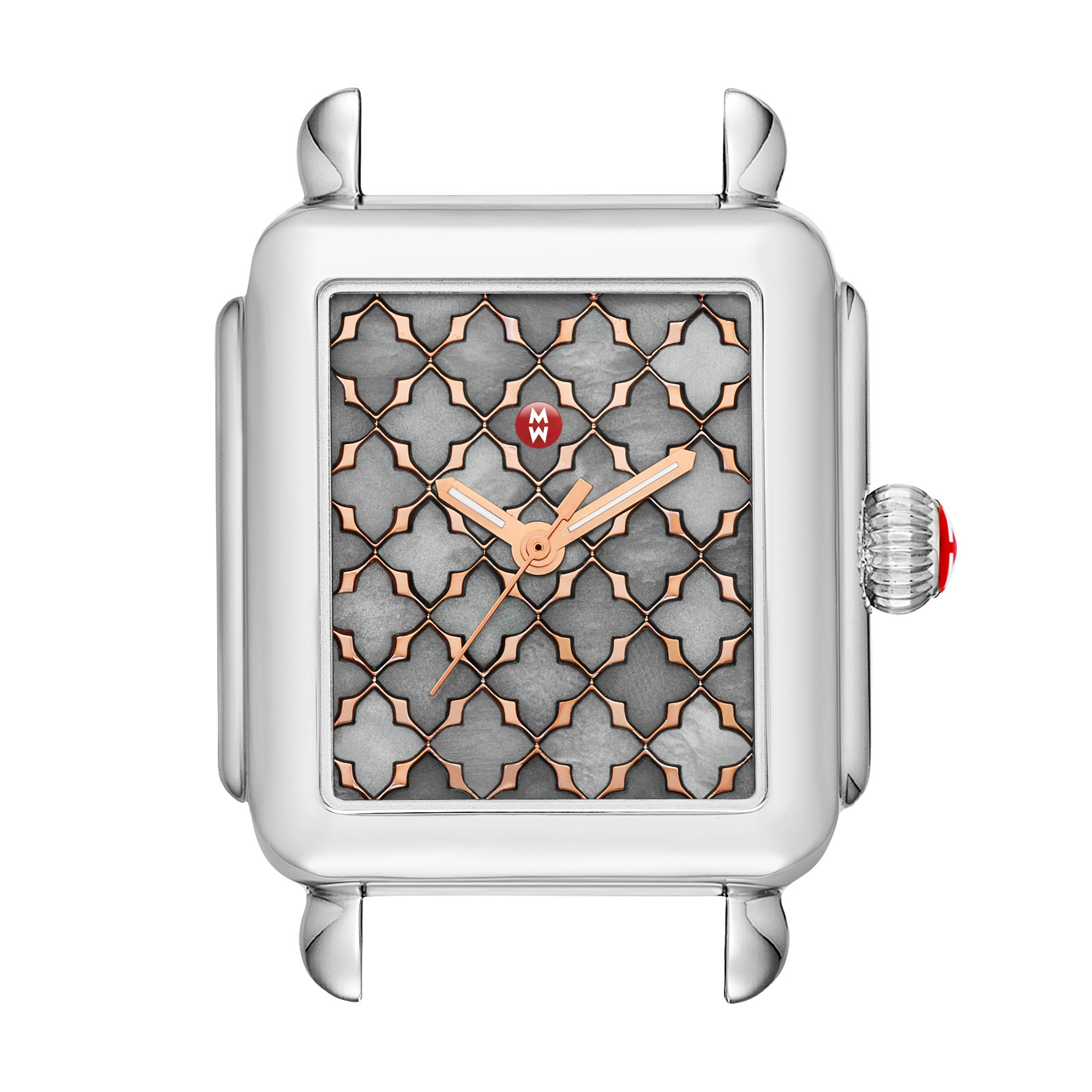 Michele Deco Grey Mother of Pearl Mosaic Watch with Rose Golden Accents