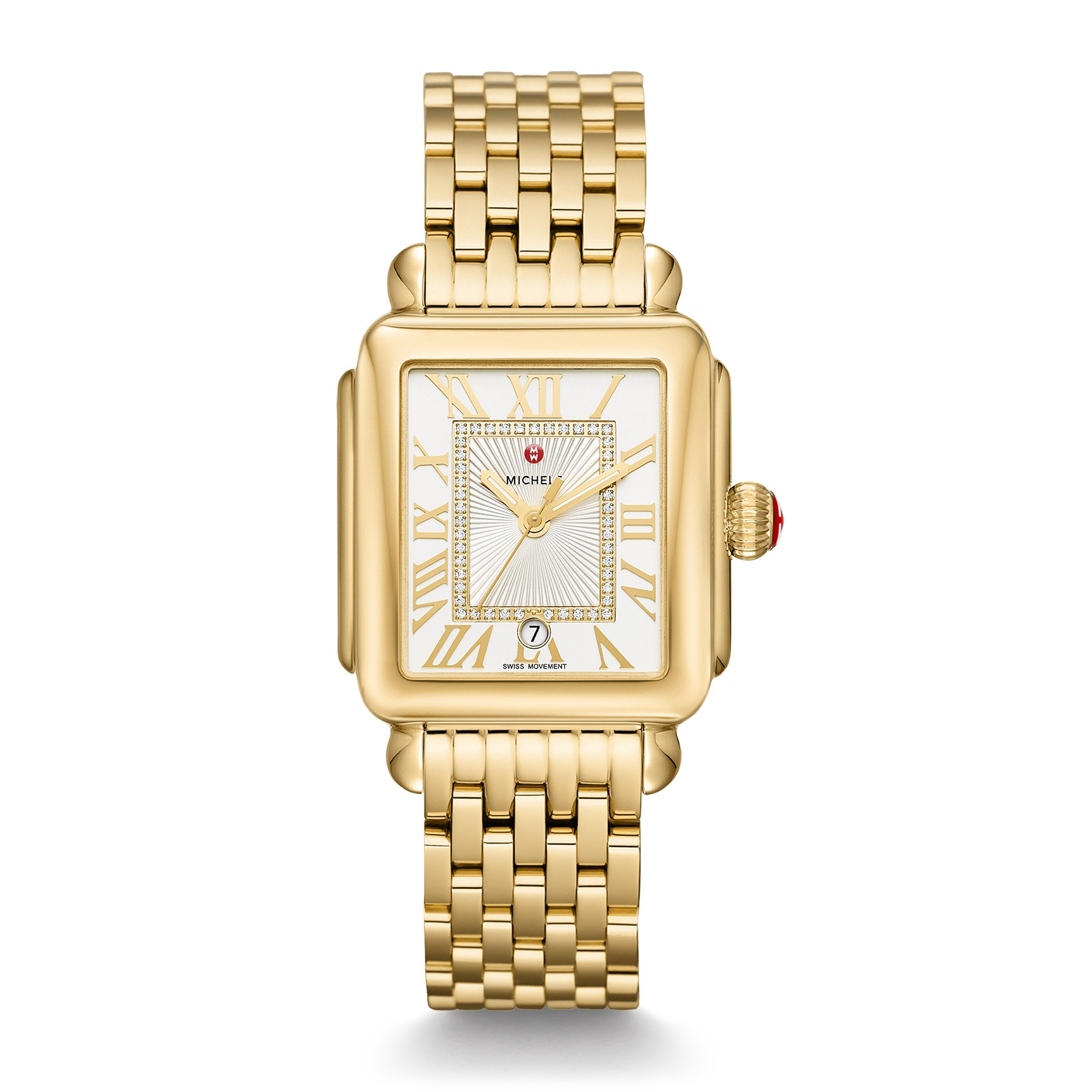 Michele Yellow Gold Deco Madison Diamond Watch on Bracelet