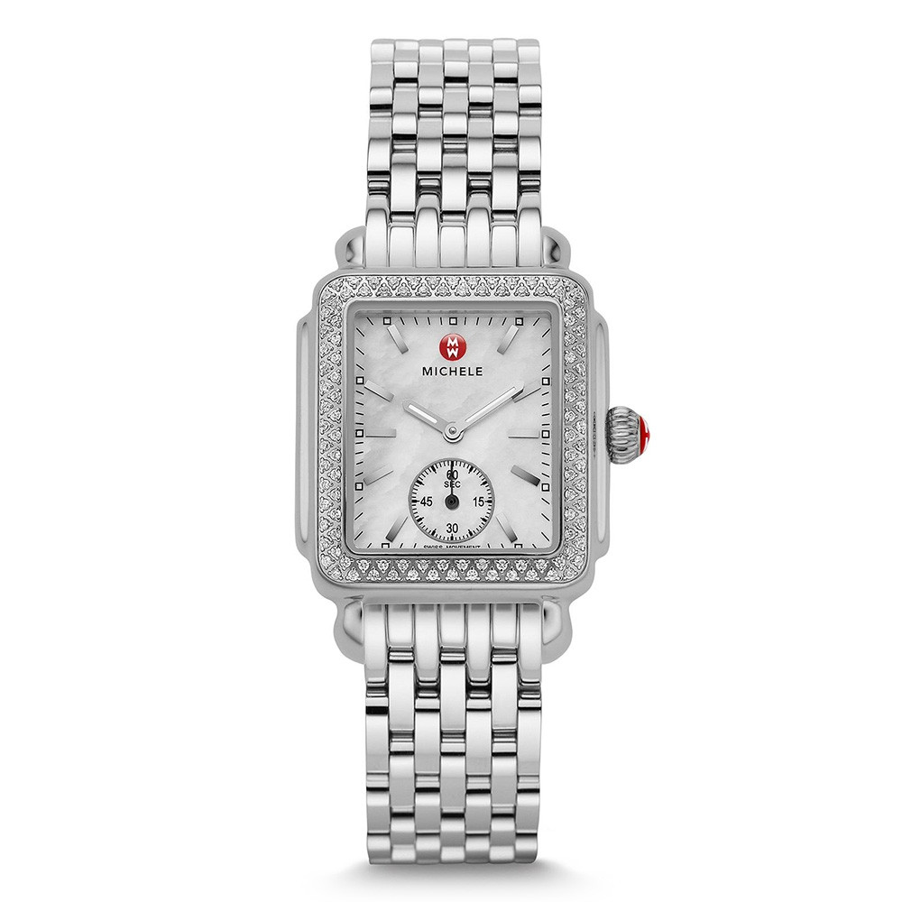 Michele Deco Mid Diamond & Mother of Pearl Watch on Stainless Steel Bracelet