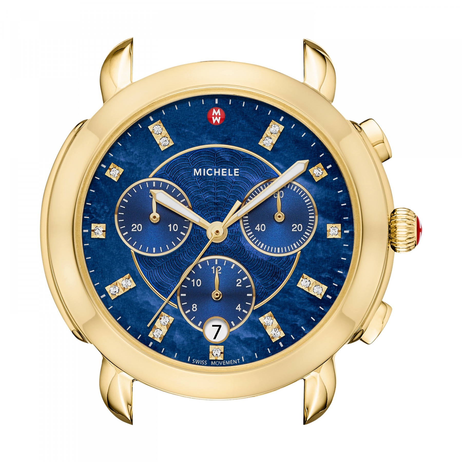 Michele Sidney Round Blue Chronograph Dial Watch in Yellow Gold alt image