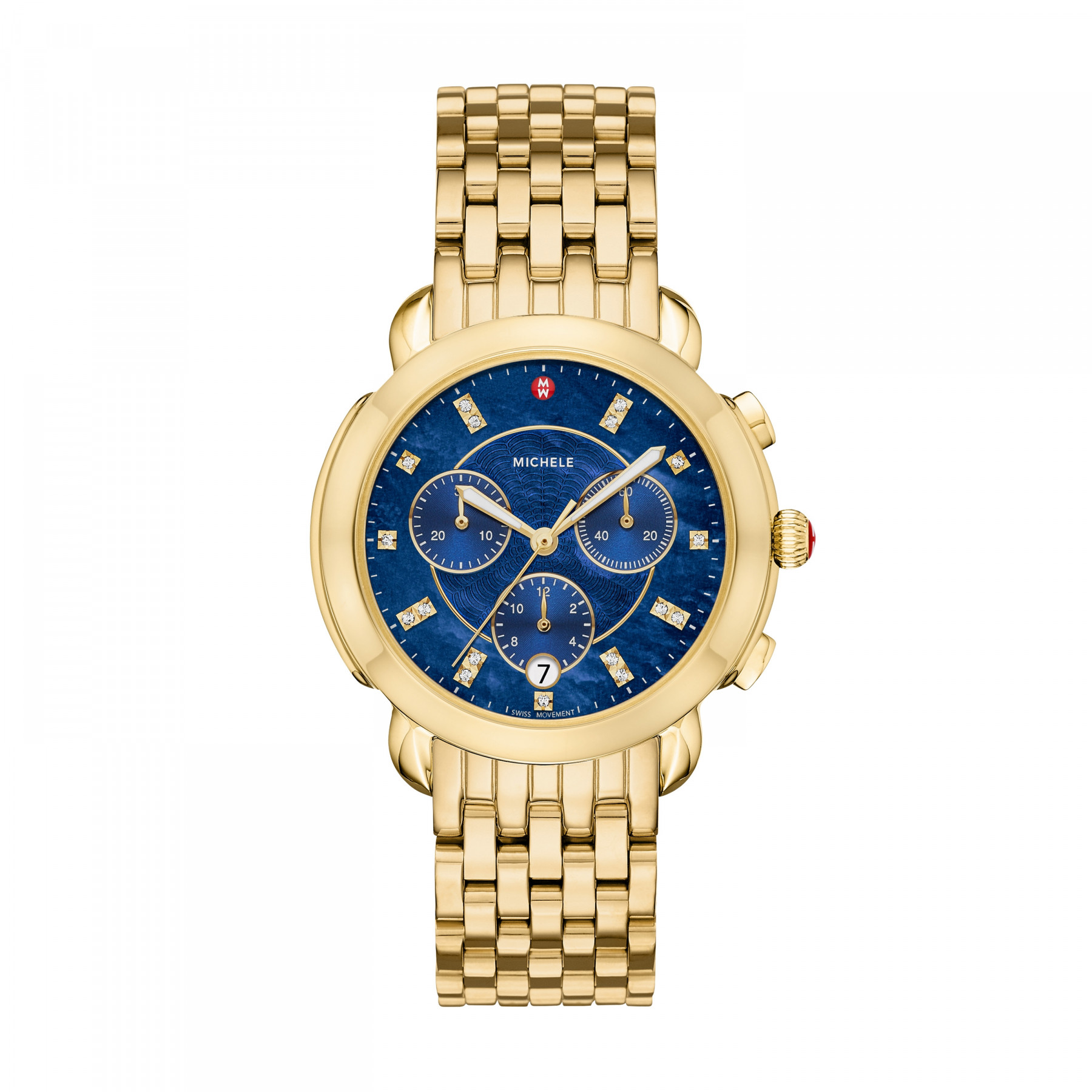 Michele Sidney Round Blue Chronograph Dial Watch in Yellow Gold main image