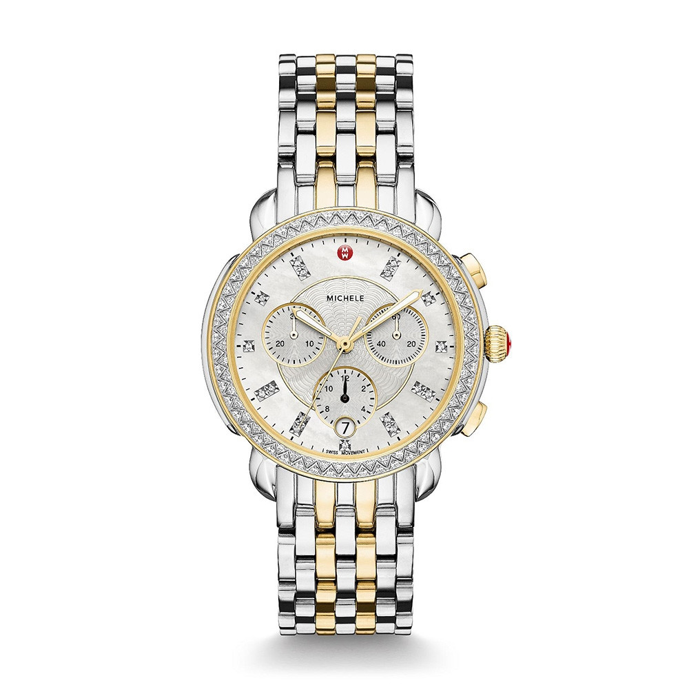 Michele Two-Tone Sidney Diamond & Mother of Pearl Watch on Bracelet
