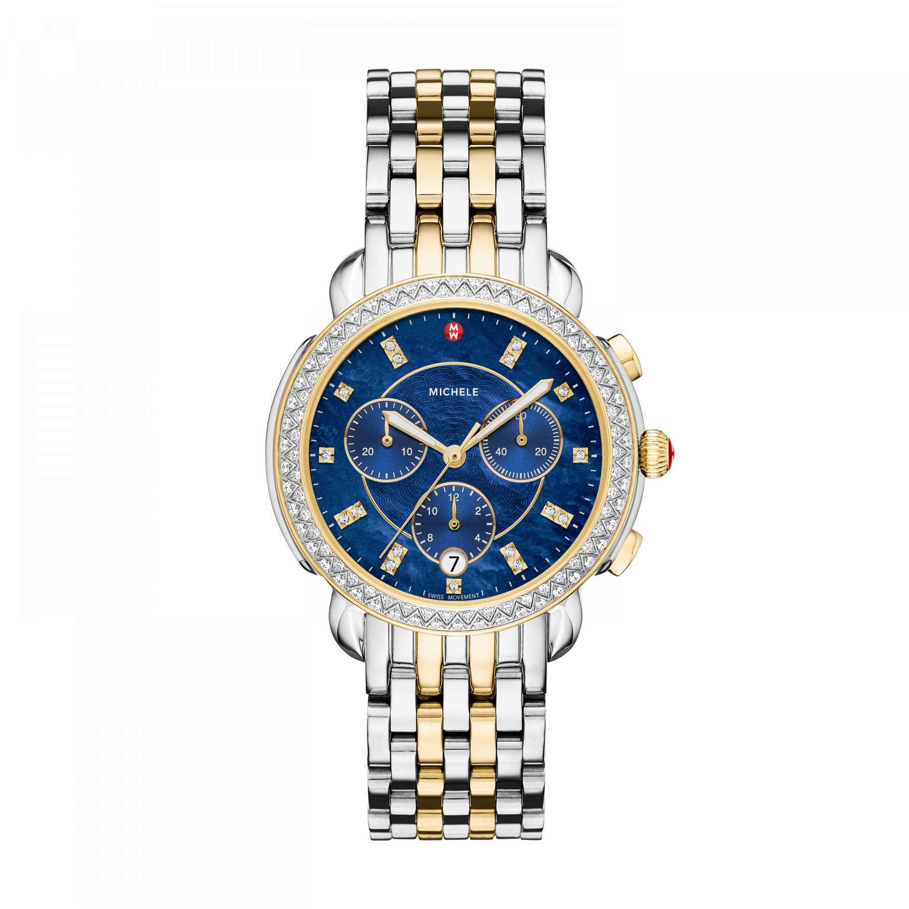 Michele Sidney Two Tone Chronograph Watch with Blue Diamond Dial main image