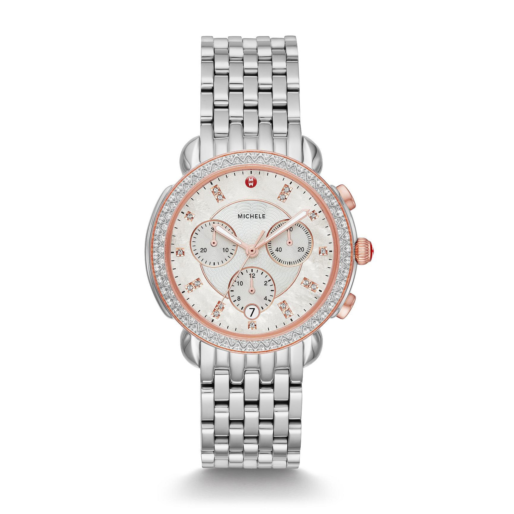Michele Sidney Pink Two-Tone Silver & Diamond Dial Watch