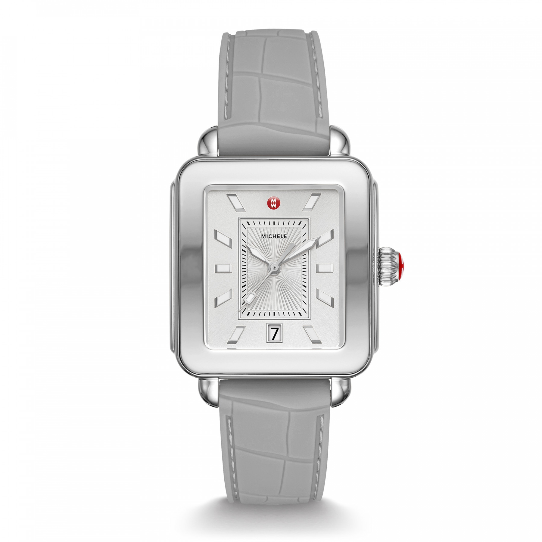 Michele Deco Sport Light Grey Watch with Rubber Strap