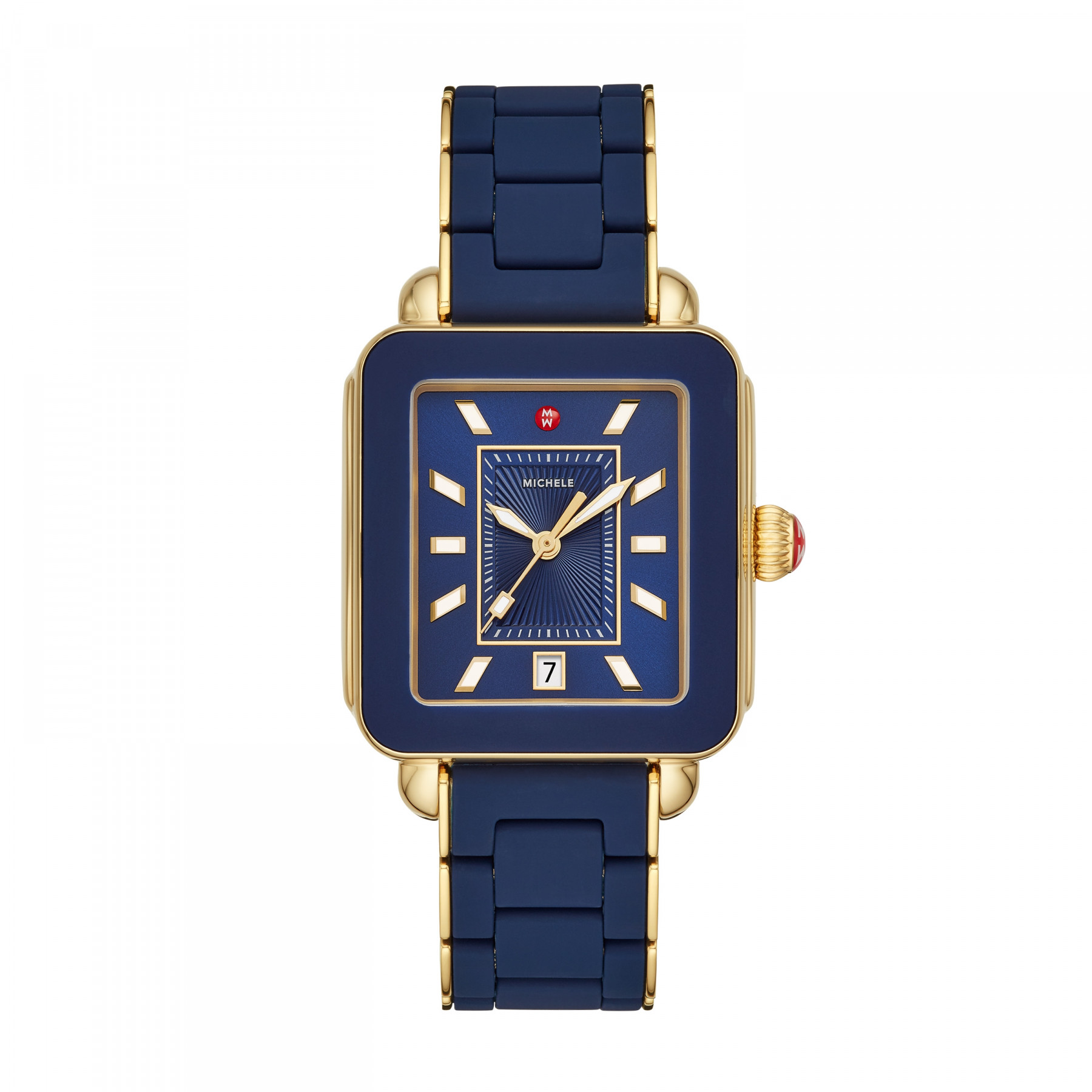Michele Deco Sport Blue and Yellow Gold Watch on Rubber Link Strap  main image