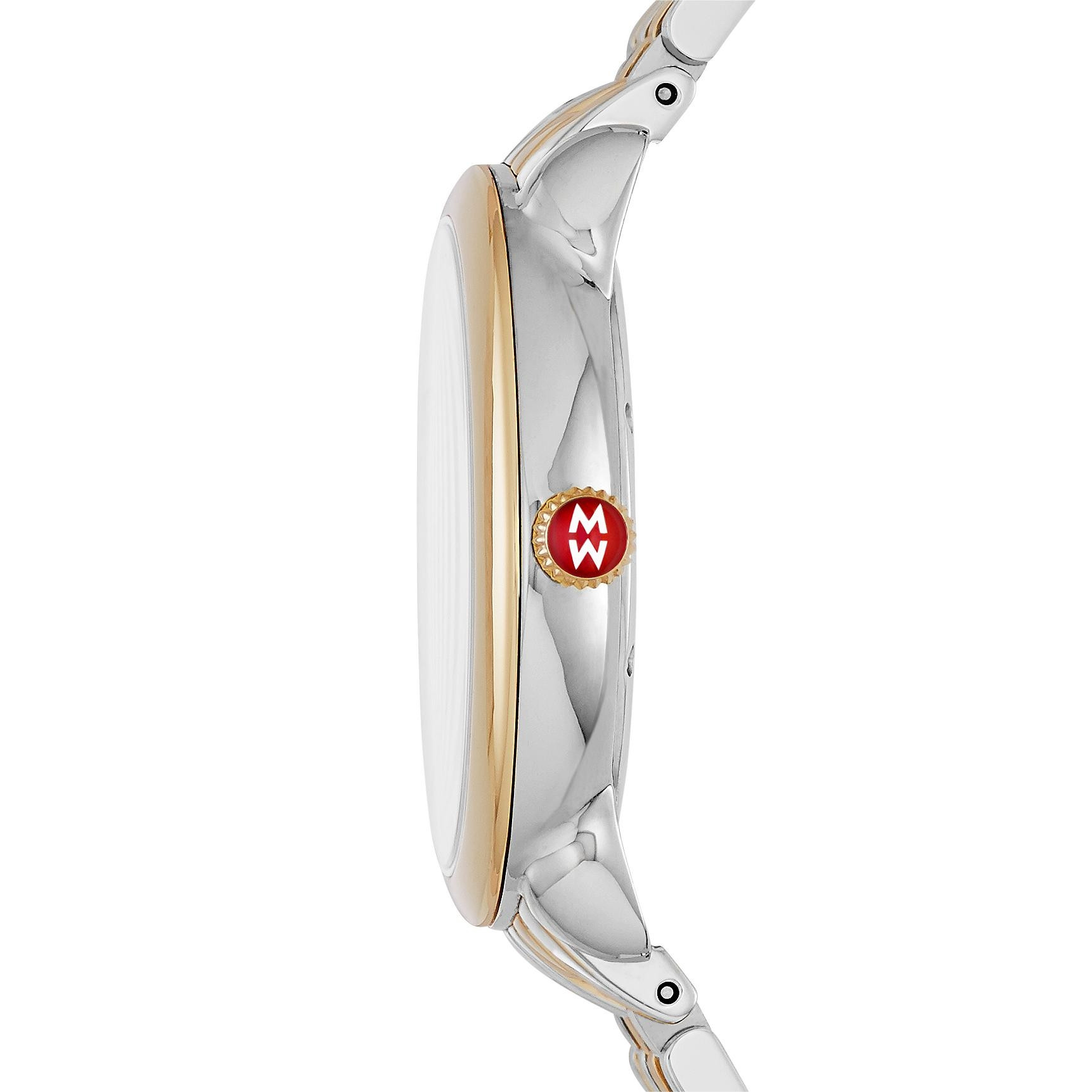 Michele Serein 16 Mother of Pearl Diamond Watch on Two-Tone Brancelet Side View