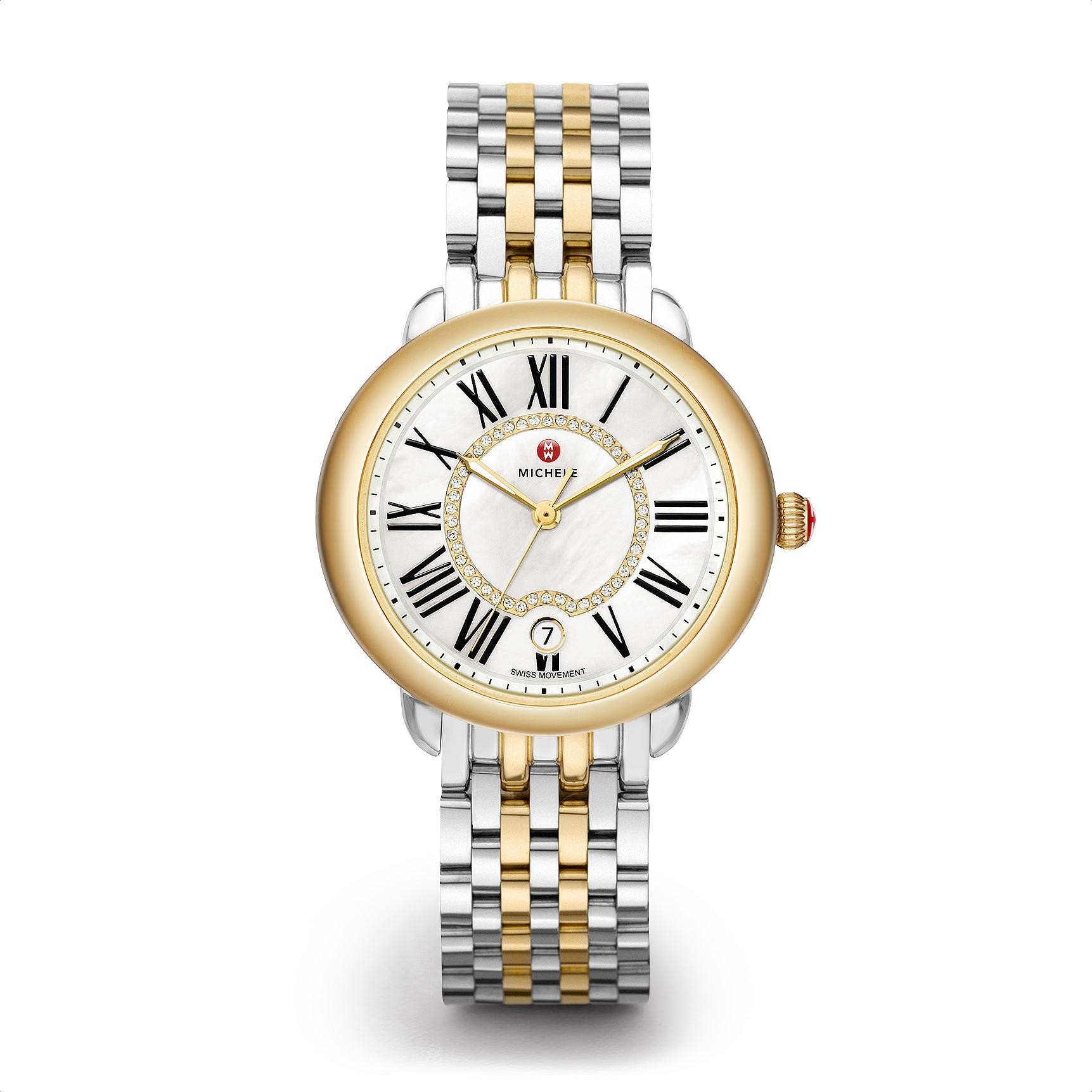 Michele Serein 16 Mother of Pearl Diamond Watch on Two-Tone Brancelet