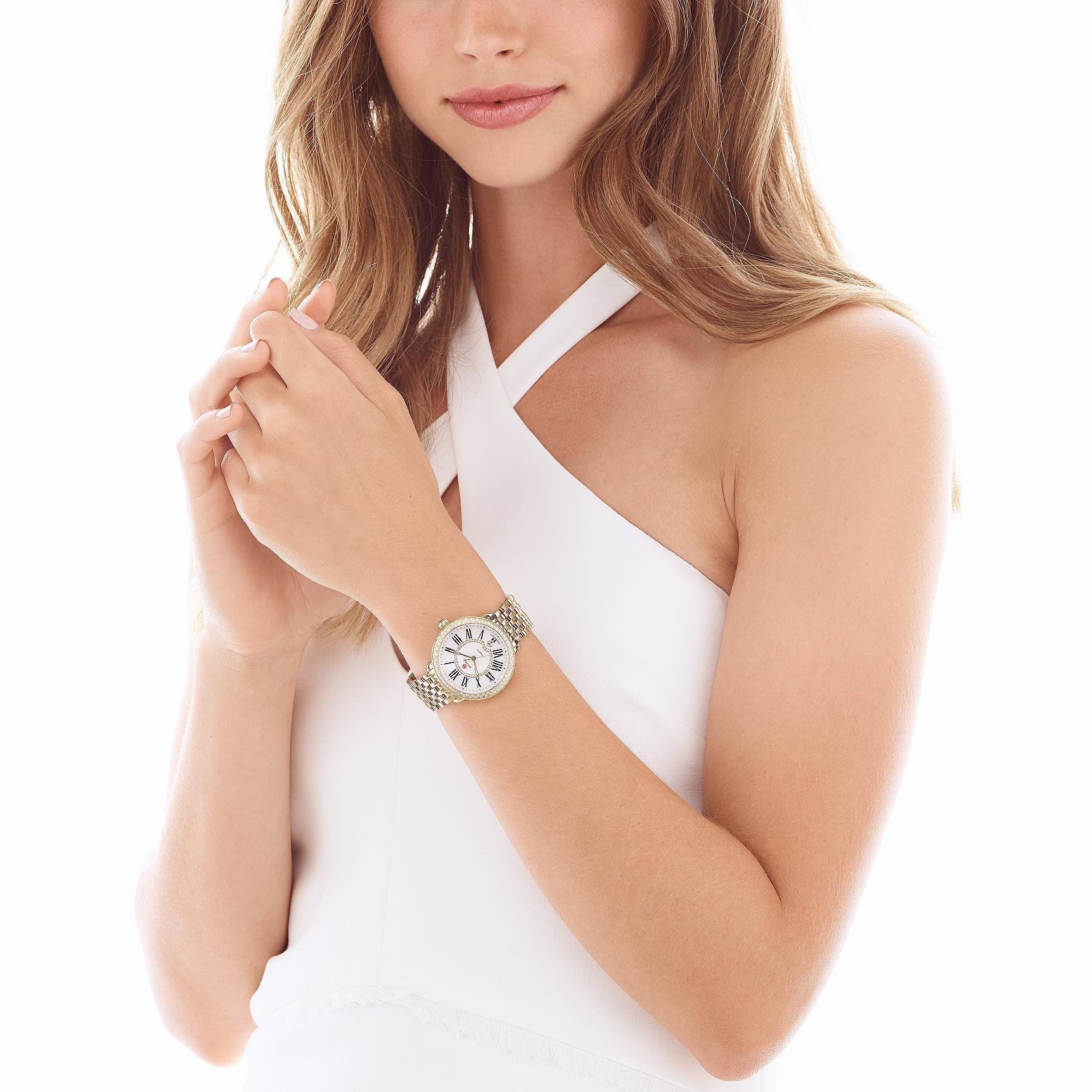 Michele Serein 16 Yellow Gold Mother of Pearl Dial with Diamond Bezel Watch on Model