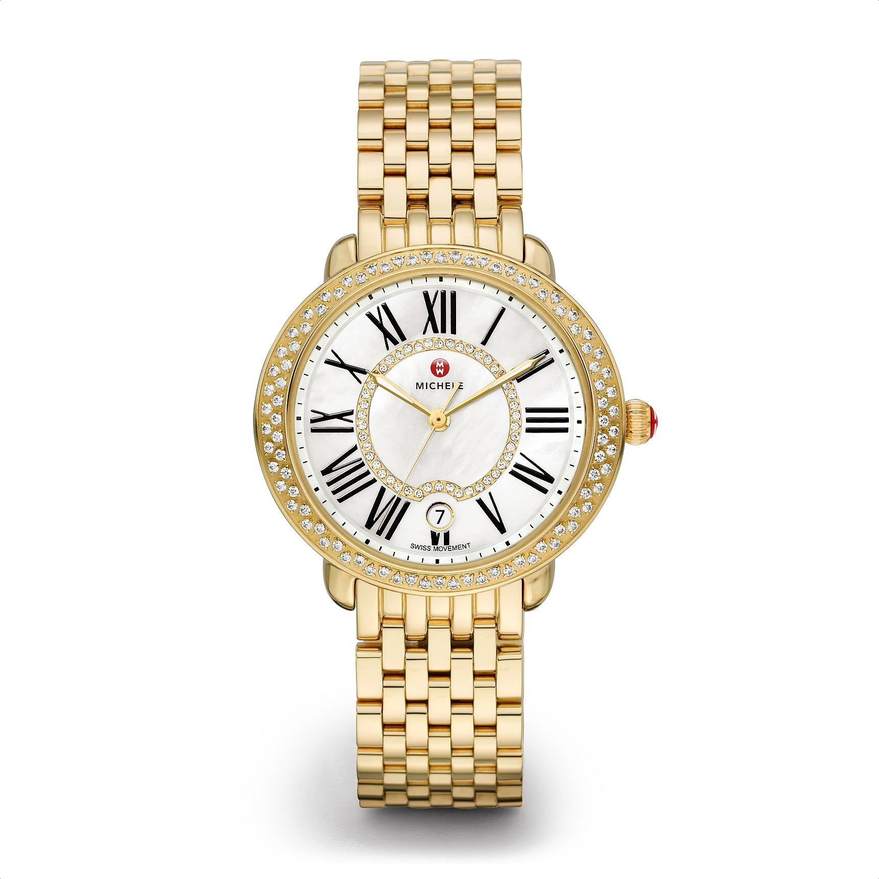 Michele Serein 16 Yellow Gold Mother of Pearl Dial with Diamond Bezel Watch