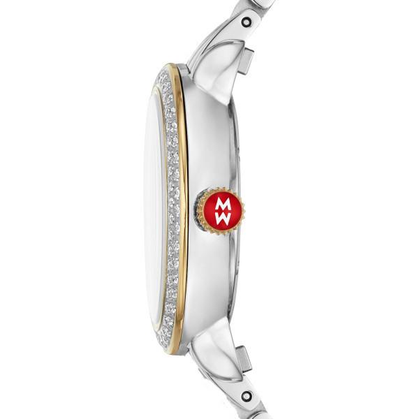 Michele Petite Two Tone 12mm Diamond Watch