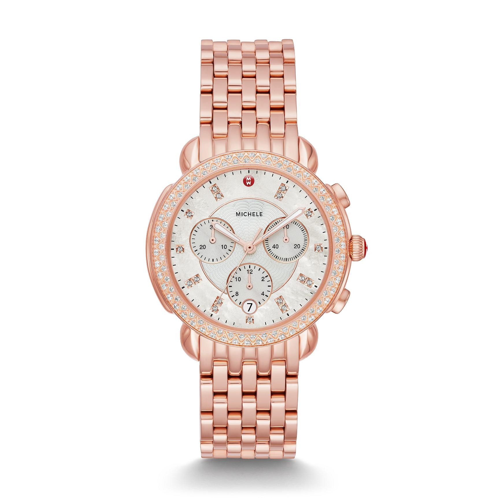 Michele Sidney Rose Gold Mother of Pearl Diamond Watch