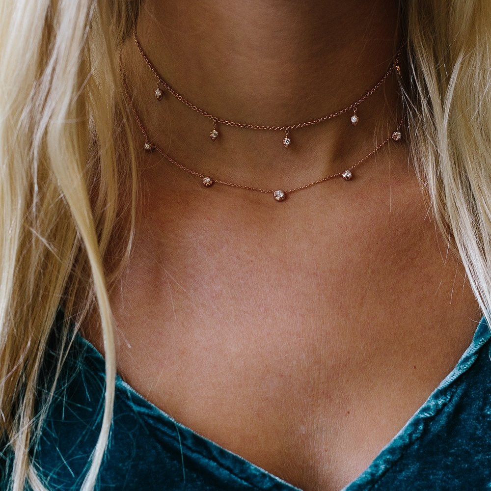 Rosette Rose Gold Diamond Station Rose Necklace by Carbon & Hyde on Model