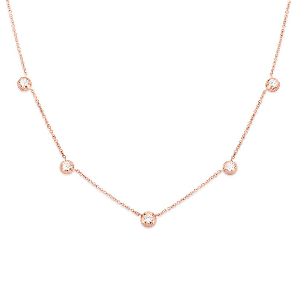 Rosette Rose Gold Diamond Station Rose Necklace by Carbon & Hyde