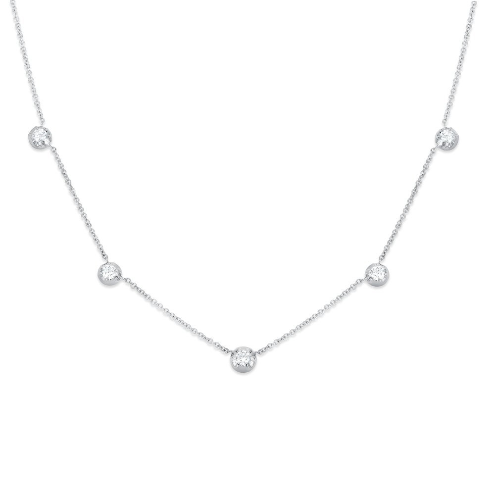 Rosette White Gold Diamond Station Rose Necklace by Carbon & Hyde