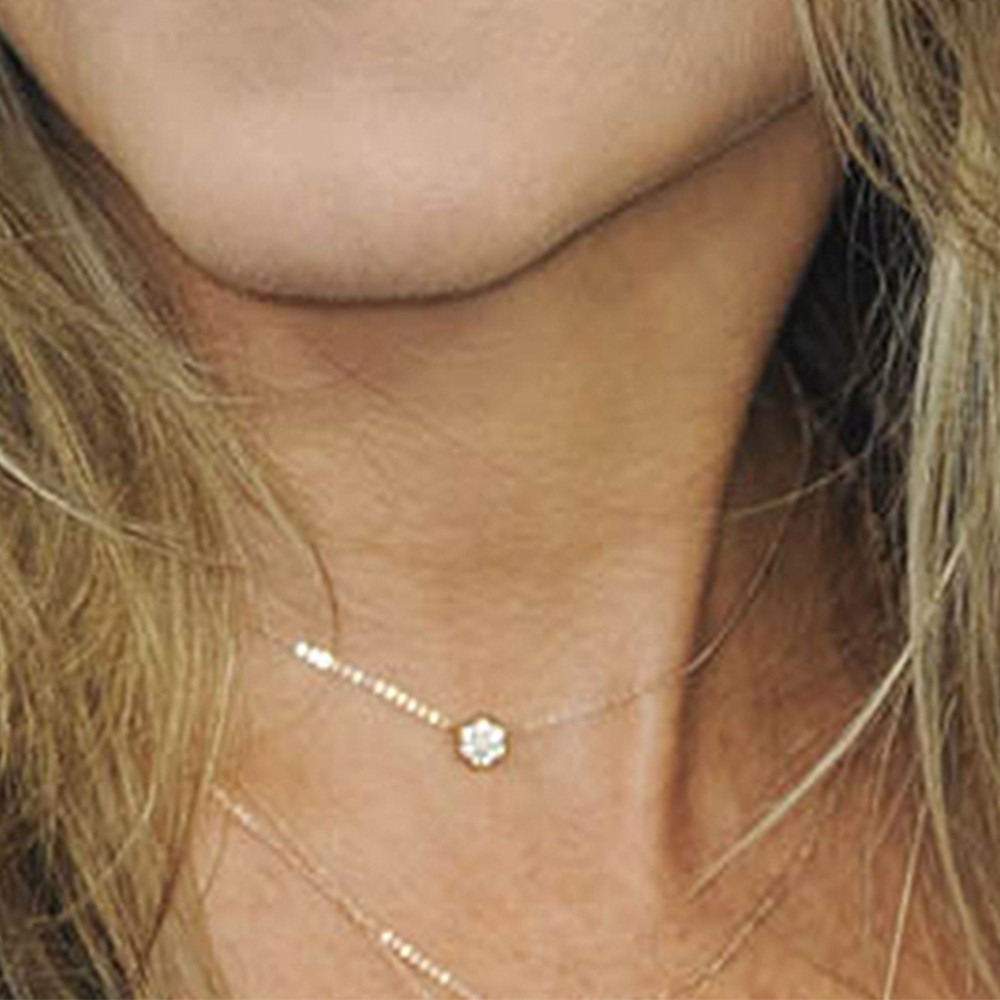 White Gold Bullet Diamond Choker Necklace by Carbon & Hyde on Model