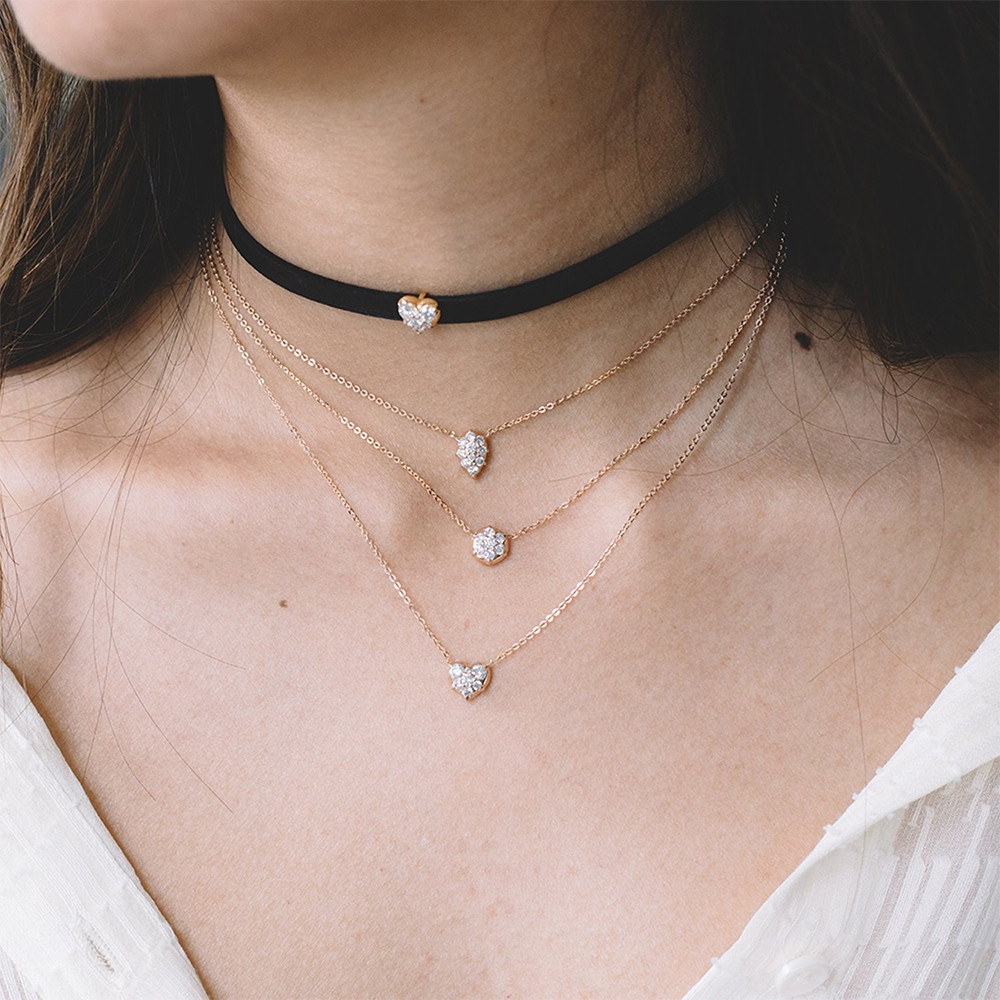 Rose Gold Venus Diamond Choker Necklace by Carbon & Hyde on Model