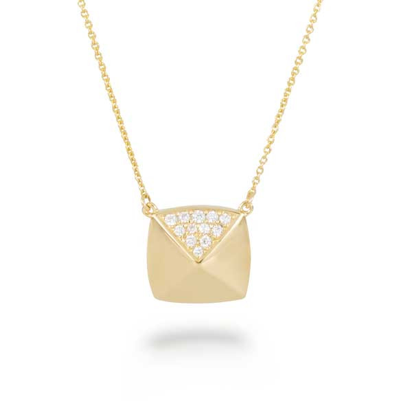Yellow Gold Pave Diamond Square Necklace
