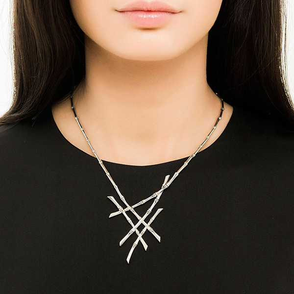John Hardy Bamboo Cluster Necklace on Model