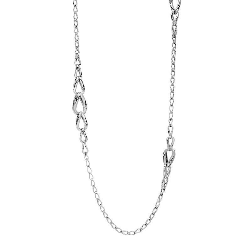 John Hardy Silver Link Station Bamboo Necklace