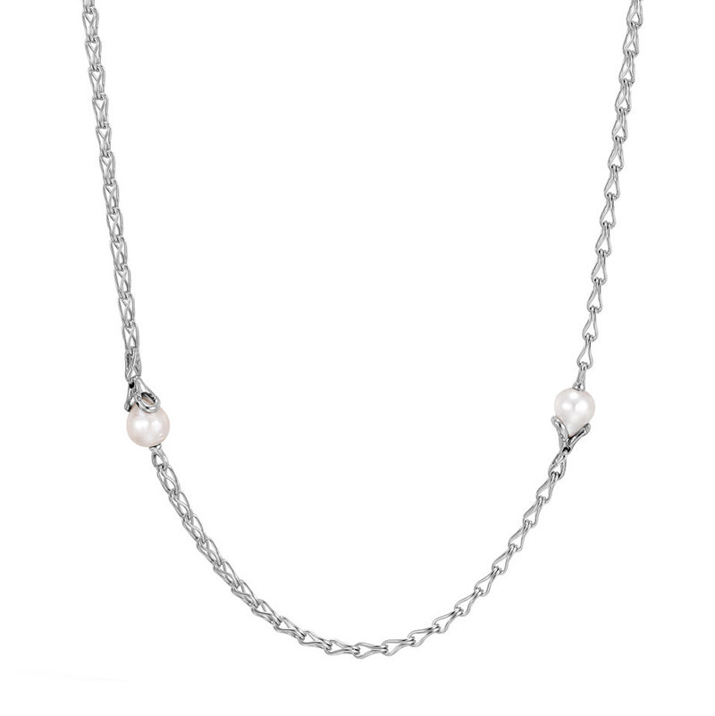 John Hardy Pearl Station Link Bamboo Necklace