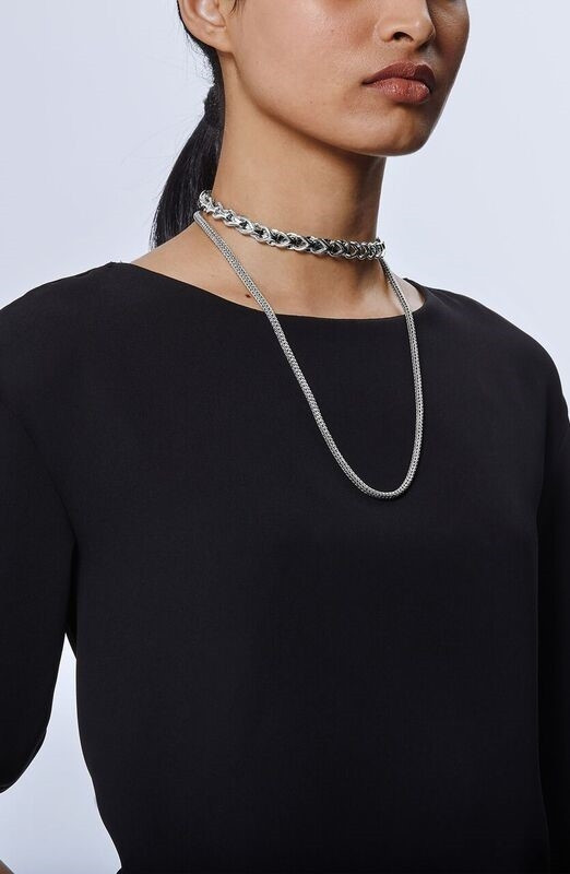 John Hardy Classic Chain Asli Silver Graduated Station Link Necklace style 1