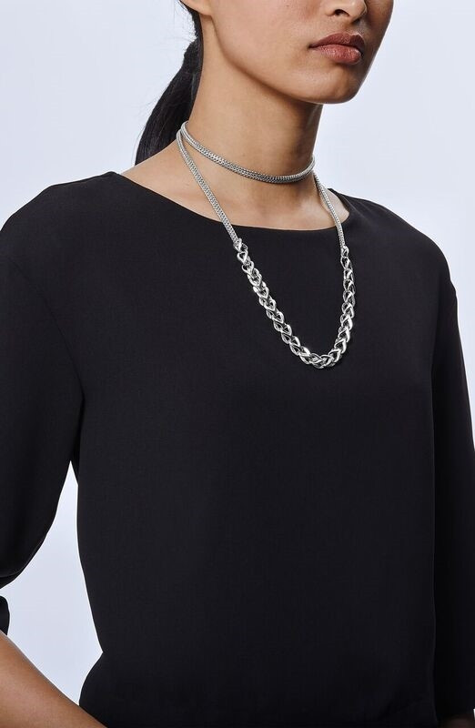 John Hardy Classic Chain Asli Silver Graduated Station Link Necklace style 7