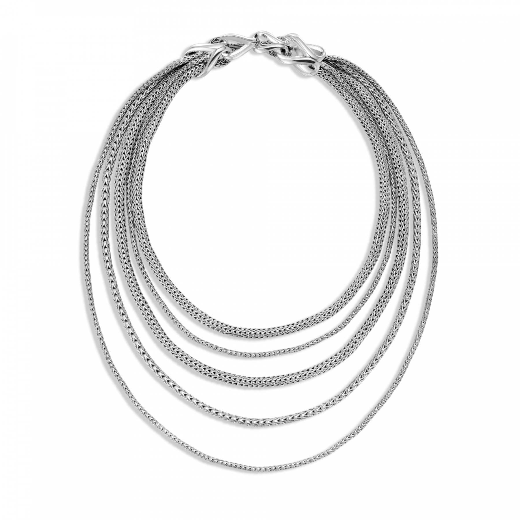 John Hardy Classic Chain Asli Sterling Silver Five Row Bib Necklace