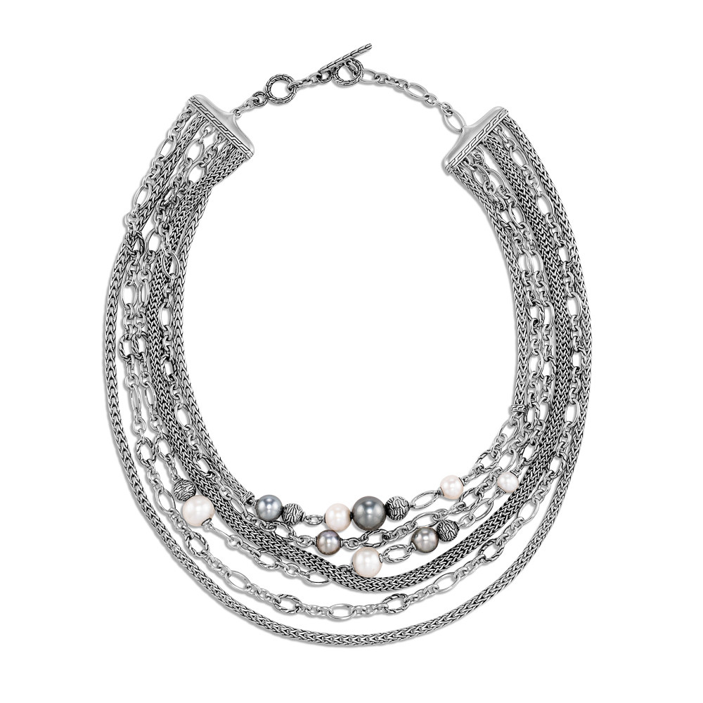 John Hardy Classic Chain Pearl Layered Necklace in Sterling Silver full view