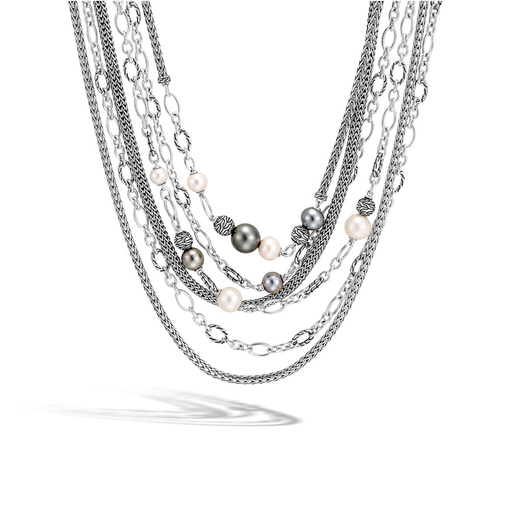 John Hardy Classic Chain Pearl Layered Necklace in Sterling Silver
