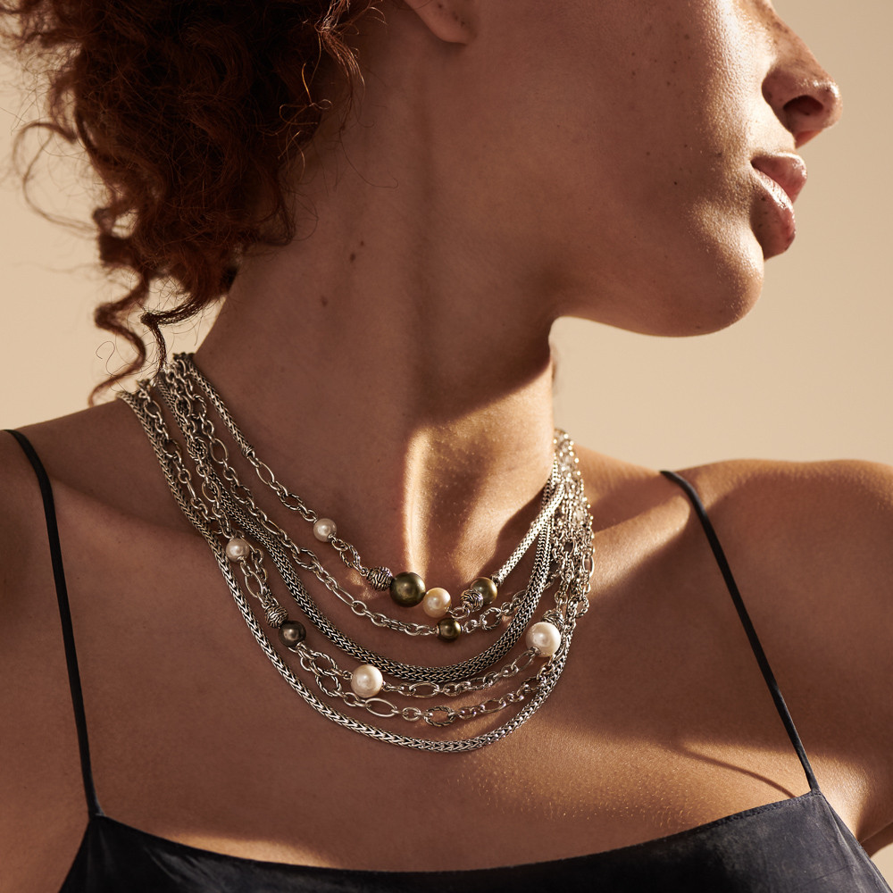 John Hardy Classic Chain Pearl Layered Necklace in Sterling Silver on model