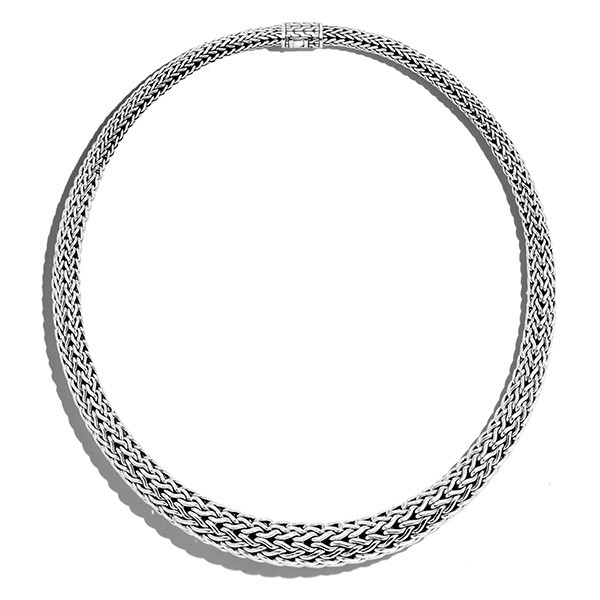 John Hardy Woven Silver Classic Chain Collar Necklace