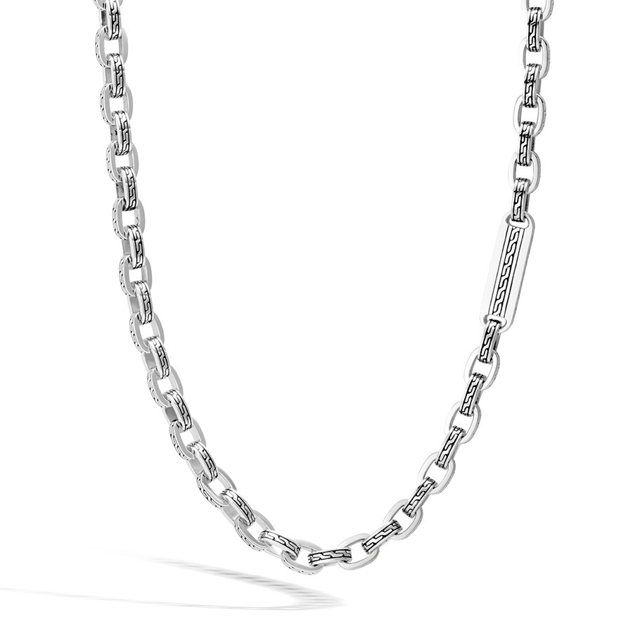 John Hardy Classic Chain Long Silver Link Station Necklace