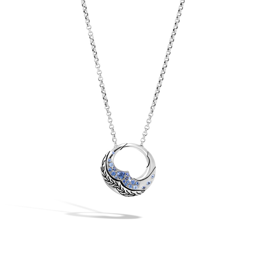 John Hardy Lahar Open Circle Blue Sapphire Necklace in Sterling Silver front view