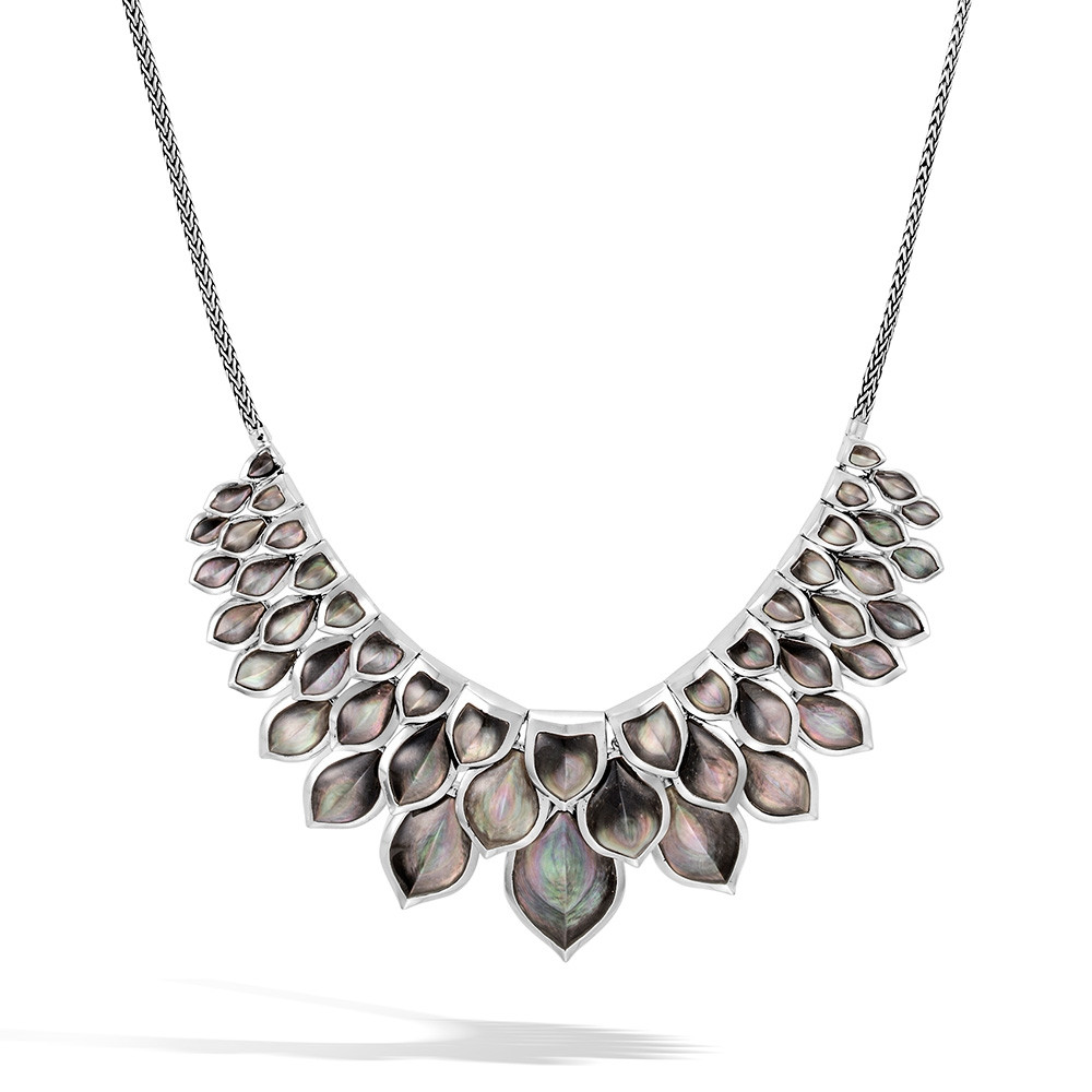 John Hardy Naga Legends Grey Mother of Pearl Dragon Scale Bib Necklace