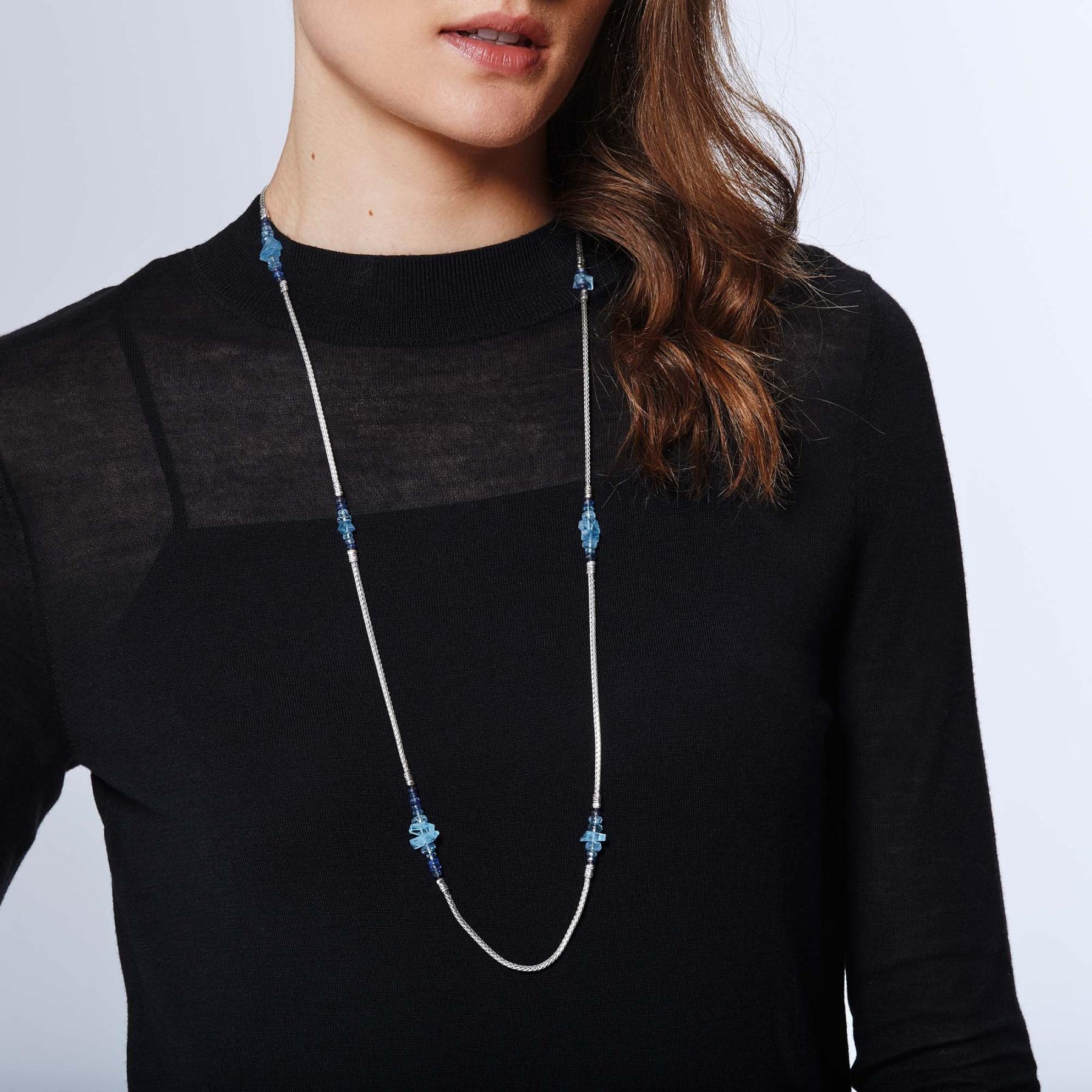 John Hardy Classic Chain Mixed Aquamarine Station Necklace on model