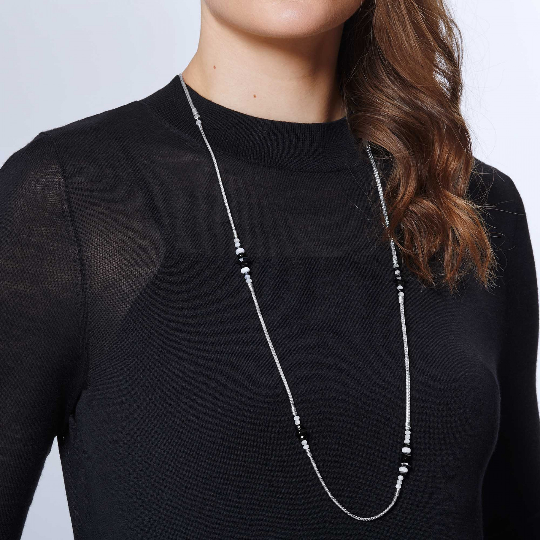 John Hardy Classic Chain Mixed Hematite Station Necklace on model