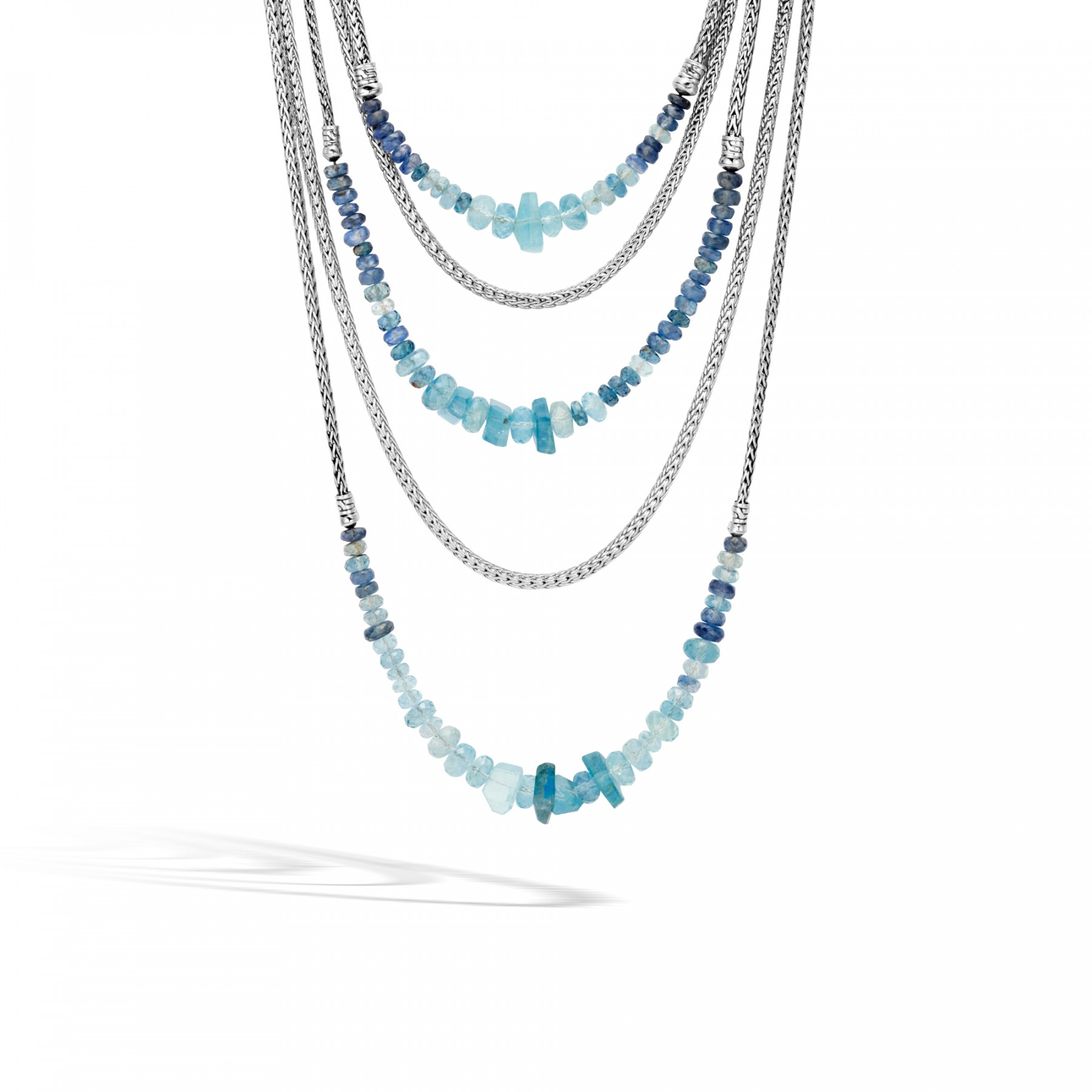 John Hardy Asli Classic Chain Layered Necklace with Aquamarine