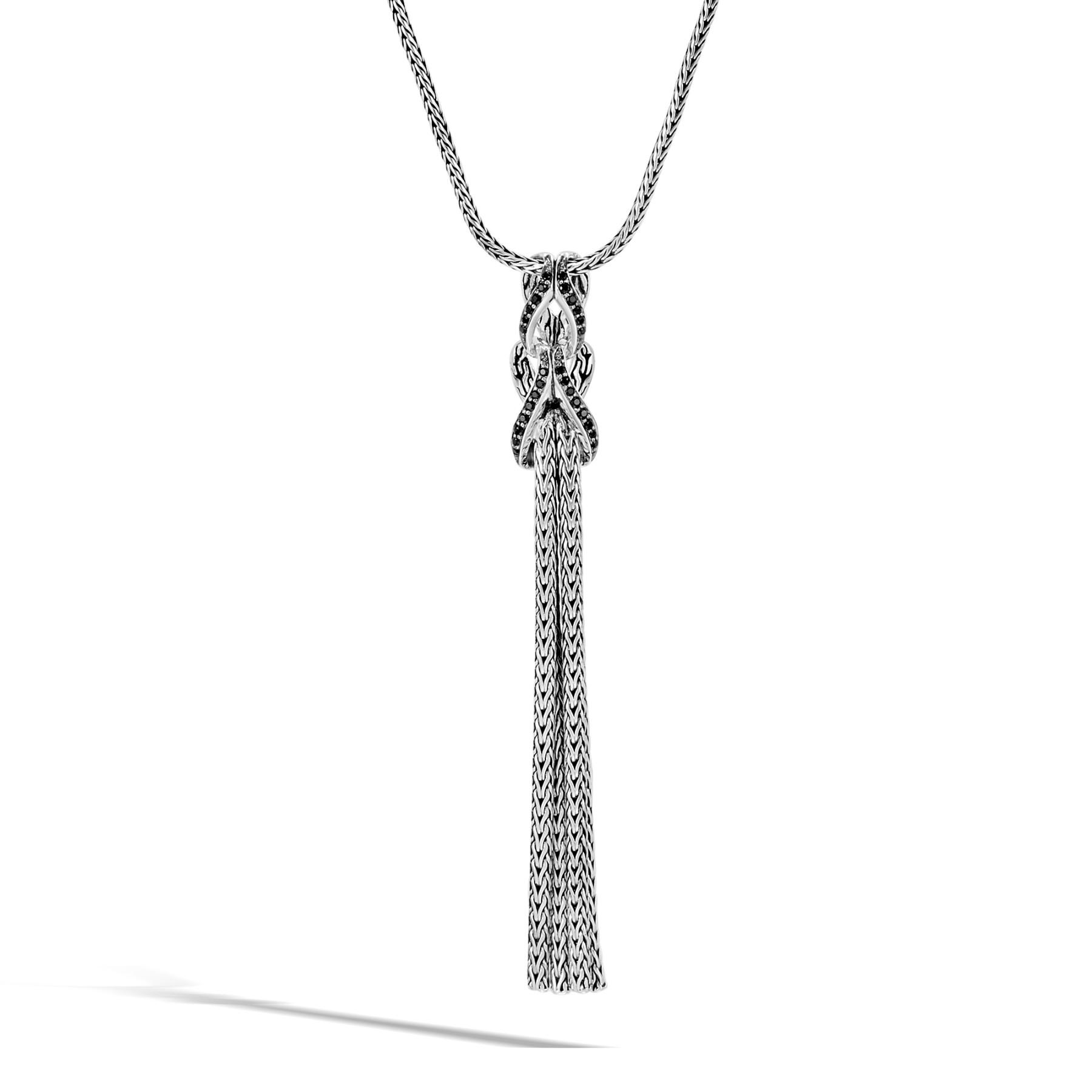 John Hardy Asli Classic Chain Black Spinel Tassel Necklace