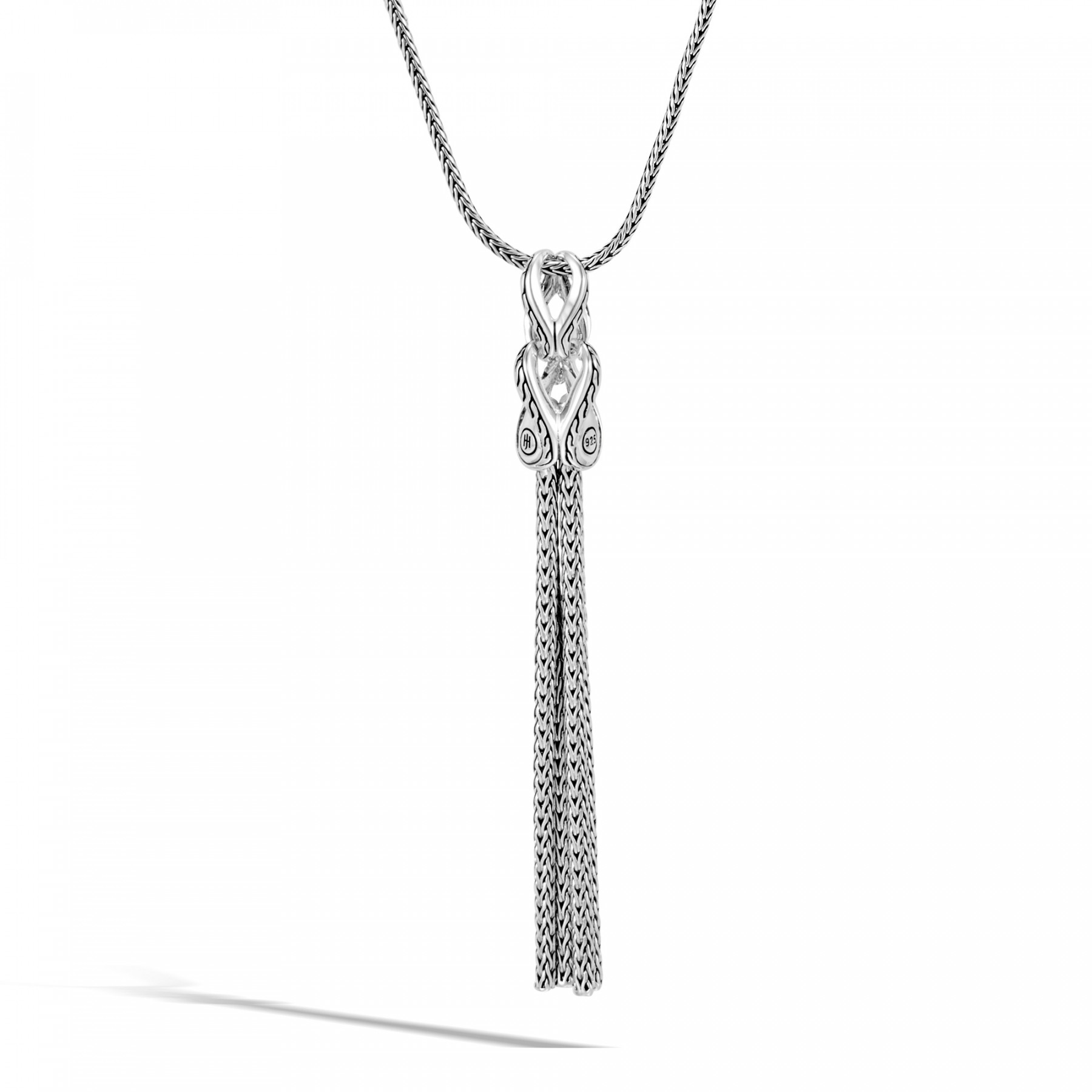 John Hardy Asli Classic Chain Black Spinel Tassel Necklace Back View