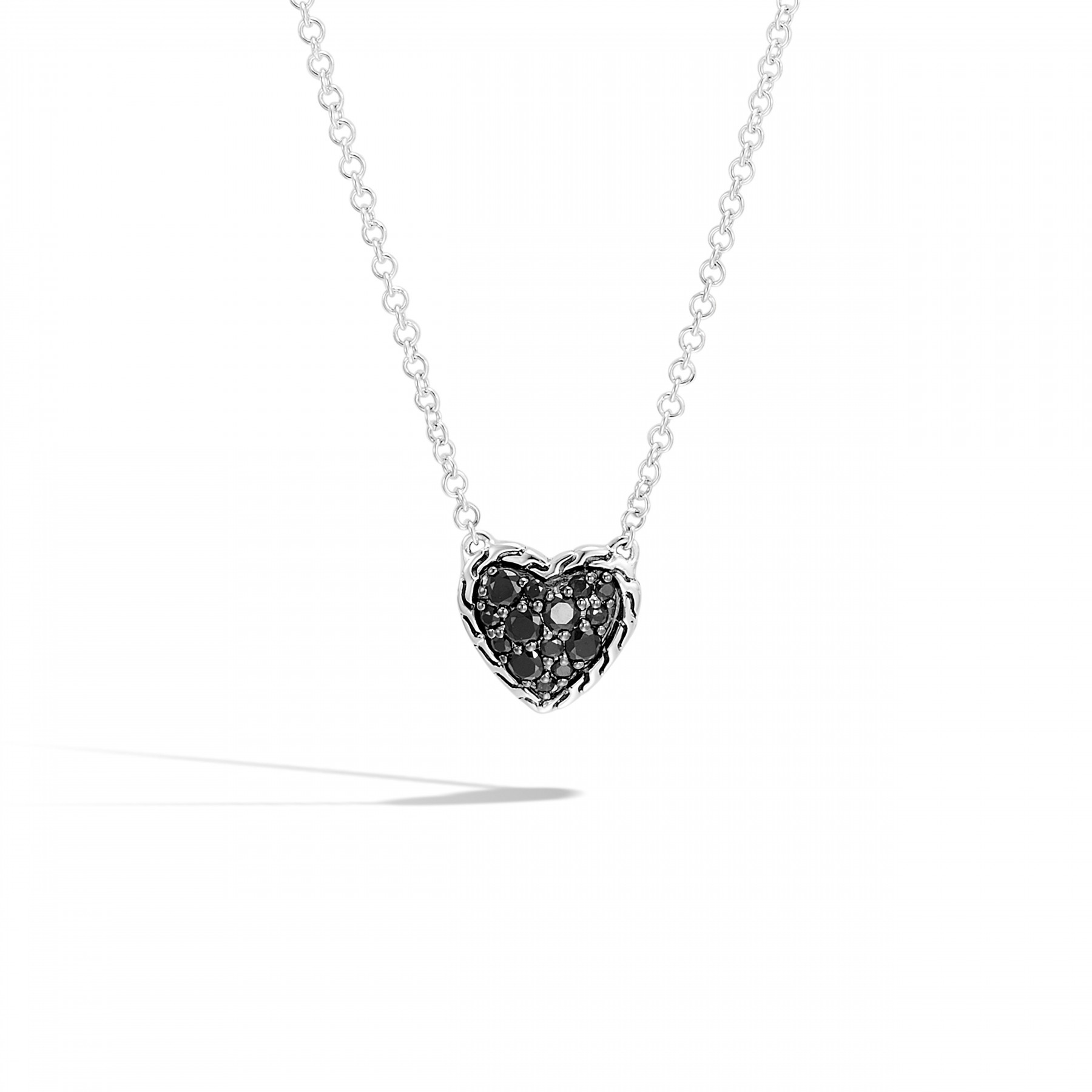 John Hardy Classic Chain Black Sapphire Heart Necklace front view