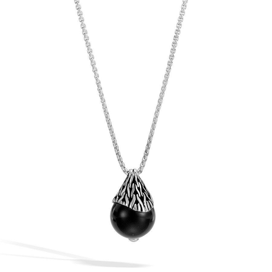 John Hardy Classic Chain Silver & Black Onyx Necklace