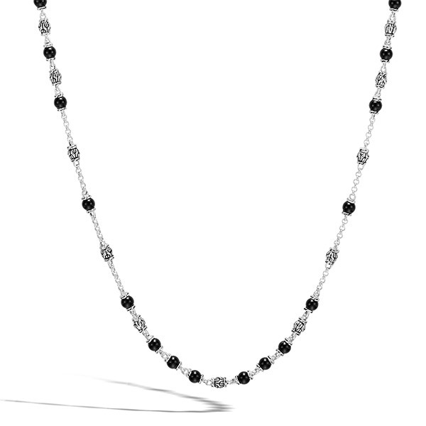 John Hardy Silver & Black Onyx Beaded Classic Chain Necklace