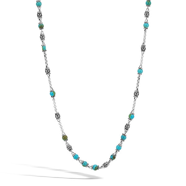 John Hardy Silver & Turquoise Beaded Classic Chain Necklace