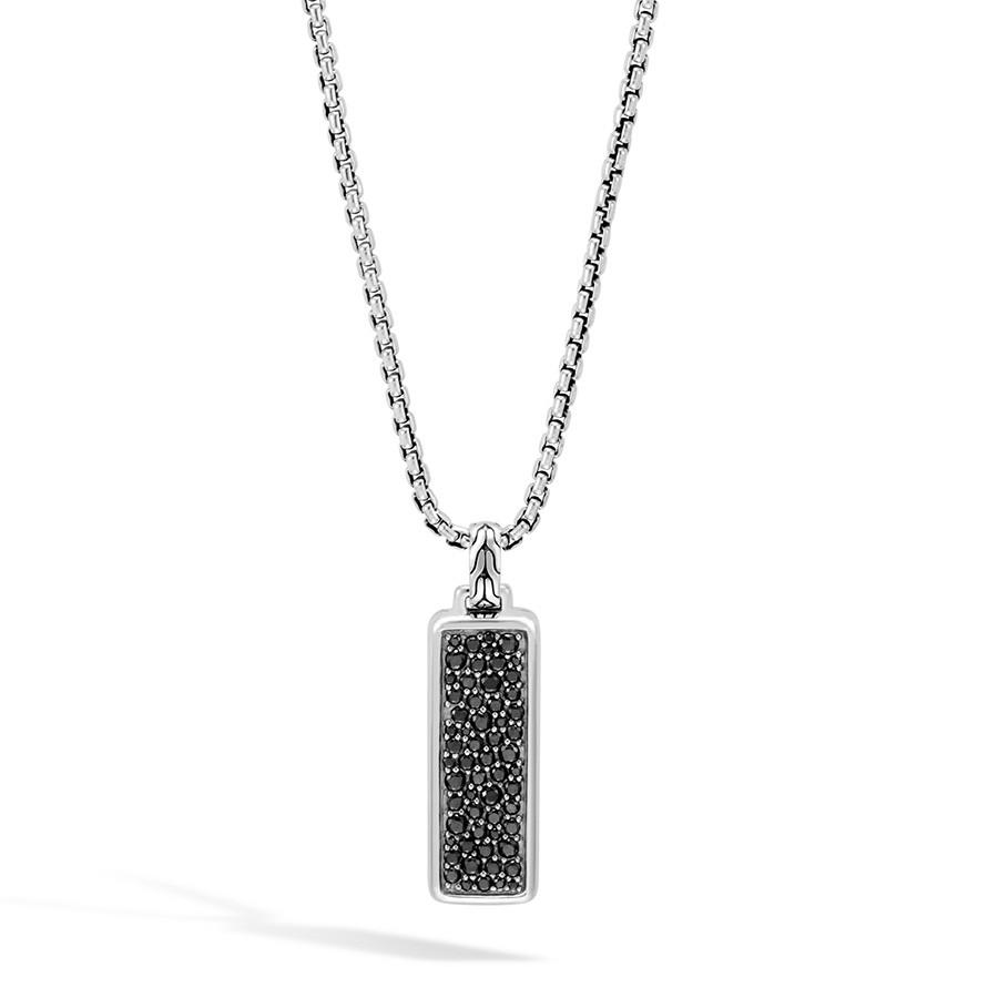 John Hardy Classic Chain Black Sapphire Dog Tag Pendant Necklace