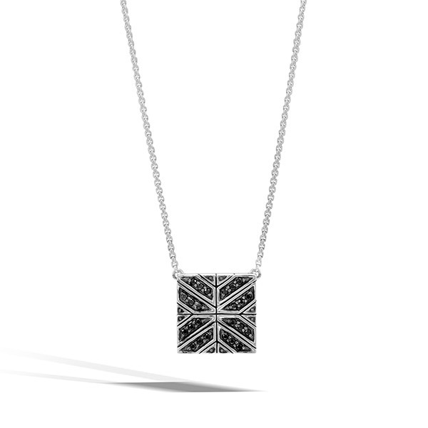 John Hardy Black Sapphire Square Modern Chain Pendant Necklace