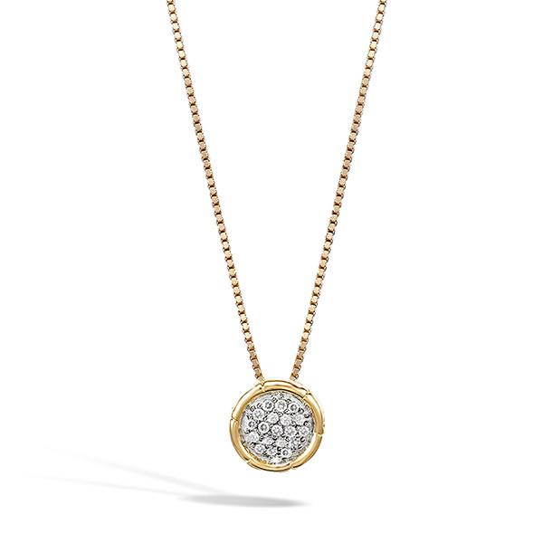 John Hardy Yellow Gold Bamboo Diamond Circle Pendant Necklace