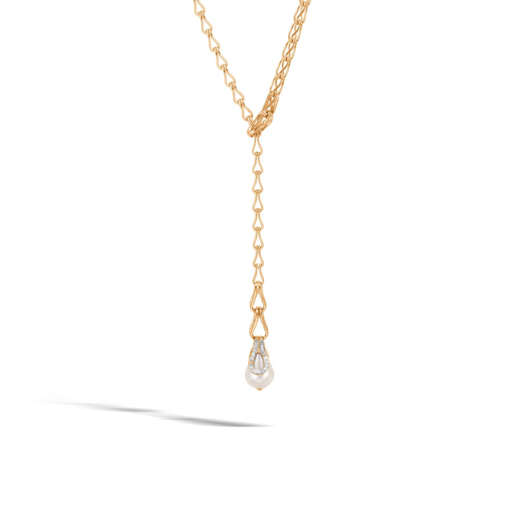John Hardy Bamboo Diamond Pearl Lariat Necklace