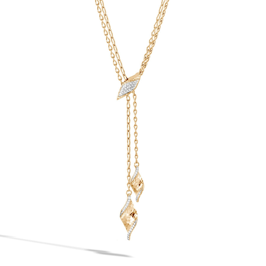 John Hardy Hammered Gold & Diamond Classic Chain Lariat Necklace