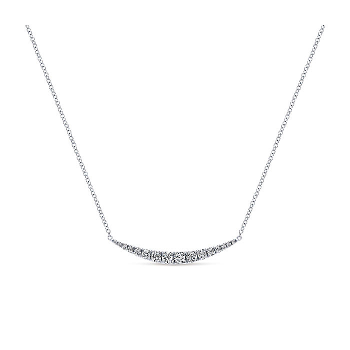 Gabriel & Co. White Gold Curved Bar Indulgence Necklace Close Up